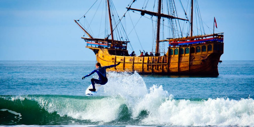 Stuart Campbell geting air in front of a Pirate ship!